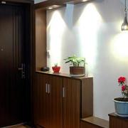 欧式原木深色玄关鞋柜设计
