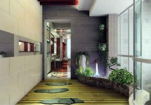 繁华都市中的一抹绿色:别墅入户花园装修效果图