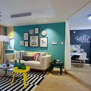 美式混搭客厅照片墙装修