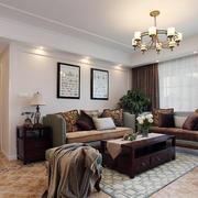 美式客厅皮制沙发装修