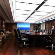 深色大型会议室效果图
