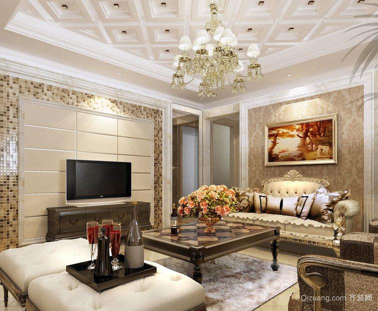 气氛和谐的大户型新古典风格客厅装修效果图素材大全