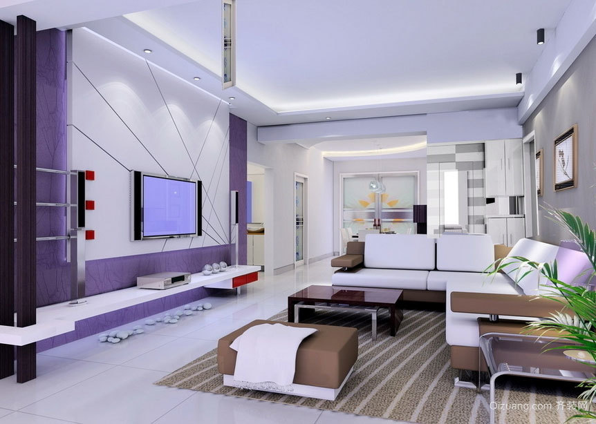 时尚都市大户型新房客厅装修效果图案例欣赏
