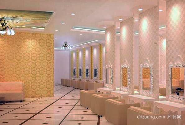 90平米现代都市美发店室内装修效果图展示
