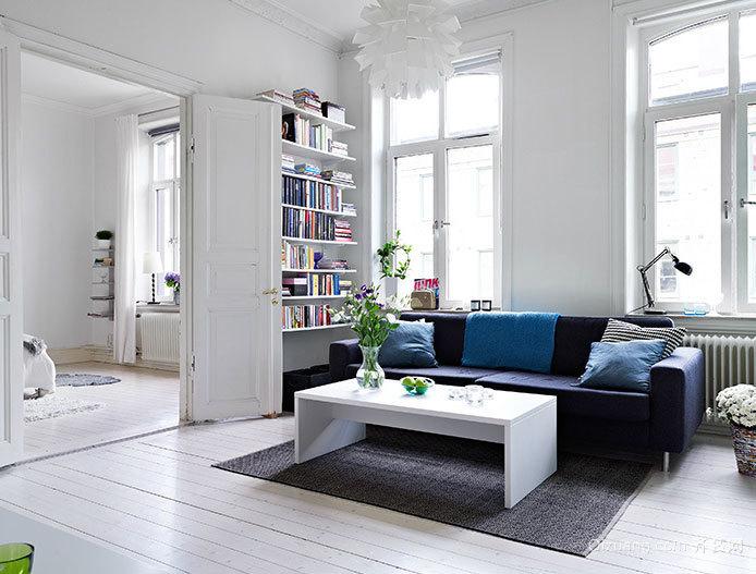 60平米小户型蓝白搭配的小公寓装修设计