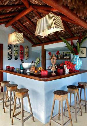 回归自然:三居大户型东南亚风格吧台装修效果图