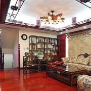 客厅红色地板设计