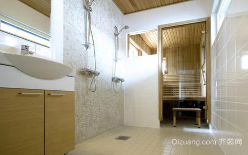 美观实用:30平长形整体洗手间设计效果图