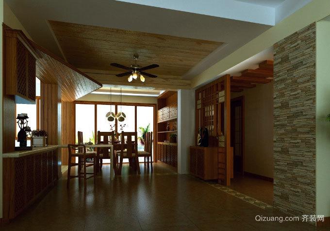 享受用餐时光:原木搭配东南亚风格家庭餐厅装修效果图