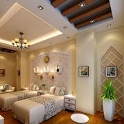 酒店卧室原木吊顶设计