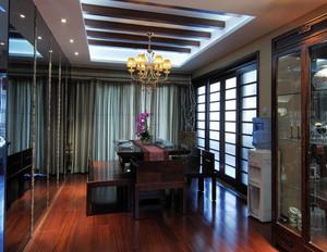 120平米客餐厅一体化中式红木餐桌装修效果图