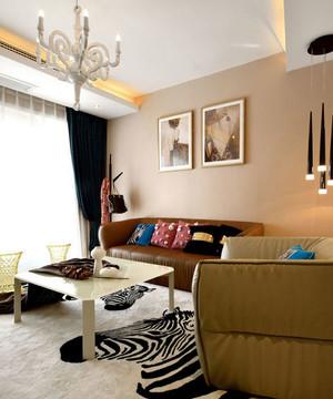 现代客厅文艺色彩足的装饰画效果图