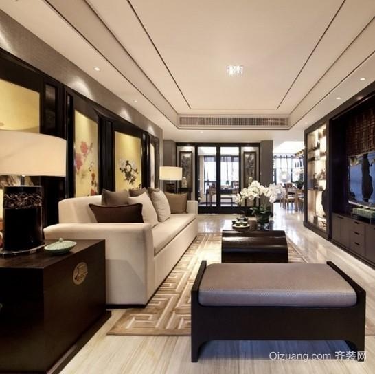 168平米新中式风格三室一厅公寓装修效果图