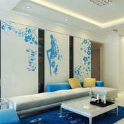 浅蓝色背景墙设计