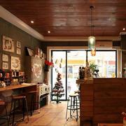 咖啡厅原木吊顶设计