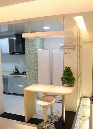 浅色后现代风格家庭客厅吧台装修效果图