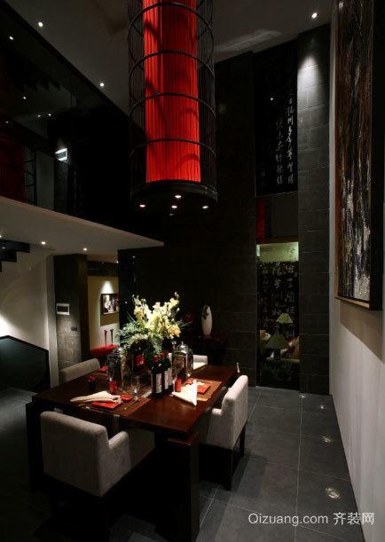 120平米 客餐厅 一体化 中式红木 餐桌 装修效果图