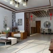 中式客厅镂空隔断设计