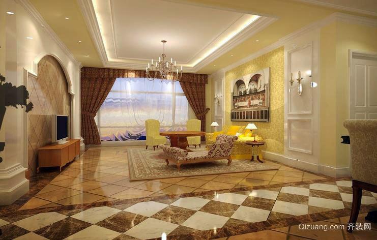 欧式豪华别墅客厅装修效果图一览