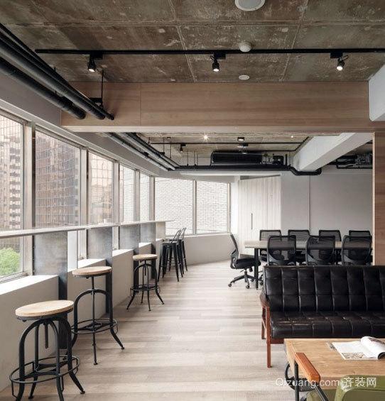 300平米深色系办公室装修设计效果图