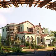 原木材料庭院设计
