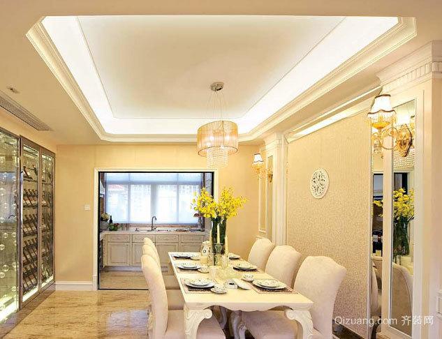 120平米客餐厅一体的欧式高档餐桌装修效果图