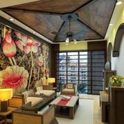 客厅原木吊顶设计