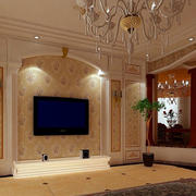 欧式客厅拱形灯饰背景墙