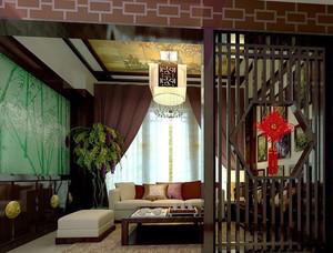 三室一厅中式客厅屏风隔断装修效果图素材大全