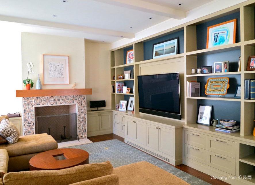 让背景墙不再空荡 客厅电视柜装修效果图