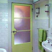 清新简约绿色系卫生间门装饰