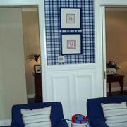 两室一厅蓝色系效果图