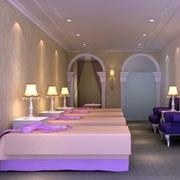 浪漫紫色的美容院装修