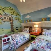 自然清新儿童房壁纸设计
