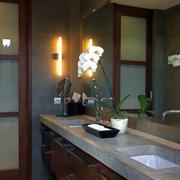深色原木装修的卫生间门