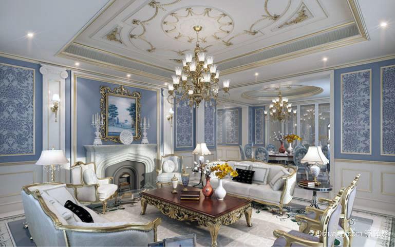法式浪漫别墅客厅装修效果图欣赏