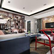 中式客厅桌椅书架