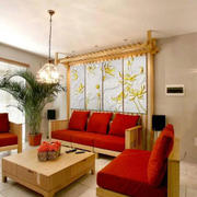 中式原木背景墙效果图