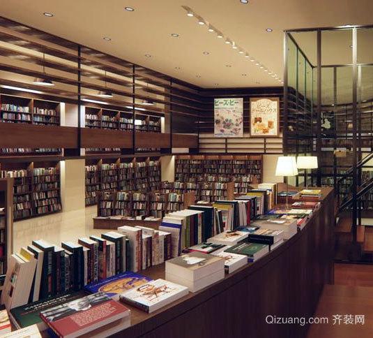 遨游书海:超大容量的书店装修效果图设计