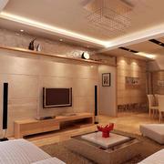 暖色灯饰客厅石膏线简约设计