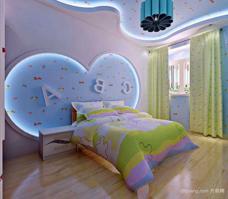 温馨的大户型地中海风格儿童房背景墙装修效果图素材
