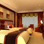 酒店双人间卧室效果图