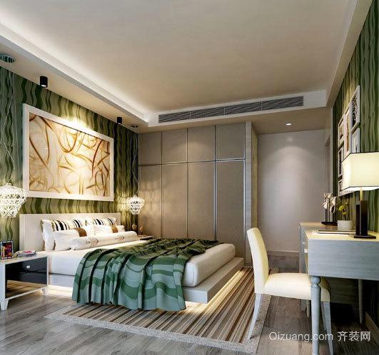清新可爱的韩式卧室床头背景墙装修效果图设计