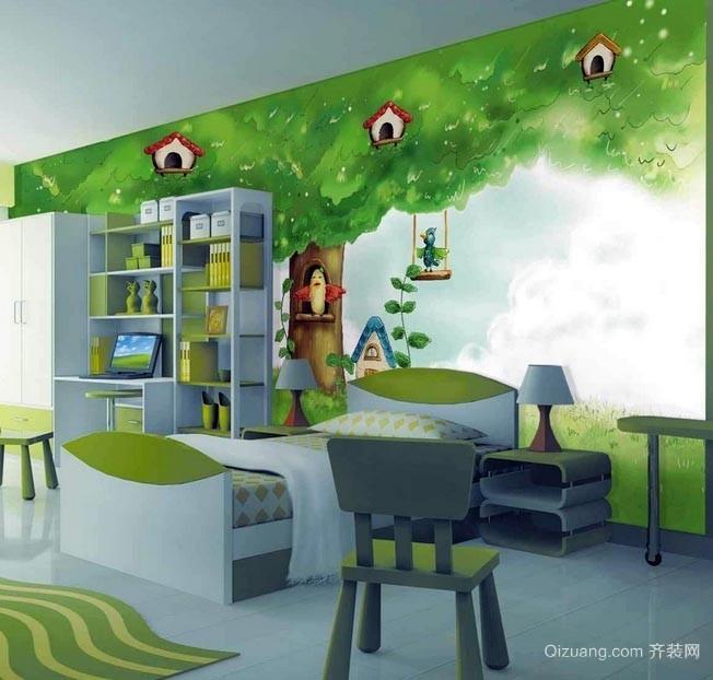 大户型16平米儿童房卡通壁纸装修效果图