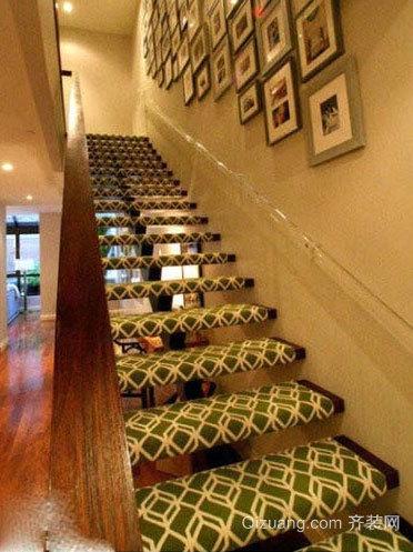 创意原木材料设计的楼梯装修效果图