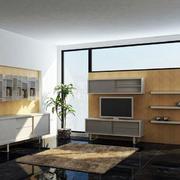电视柜博古架一体设计