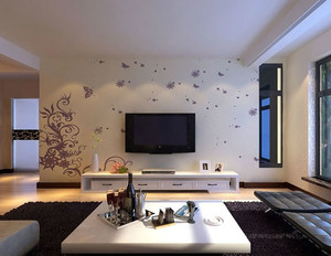 清新淡雅的硅藻泥电视背景墙