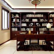 特有中式古式书架装饰的书房