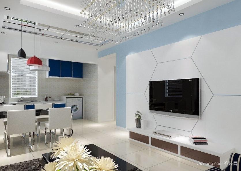 欧式风格三居室客厅电视背景墙装修效果图