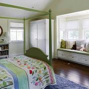 卧室绿色飘窗设计